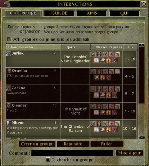 Dungeons and Dragons Online Unlimited - Trouver un groupe ou en former un.