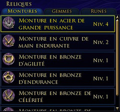Partie du panneau des objets légendaires consacrée aux reliques : les montures