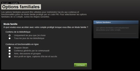 Options familiales Steam