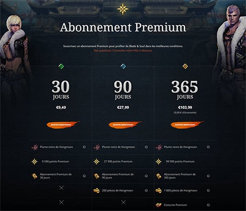 Blade and Soul - Augmentation du tarif de l'abonnement reconductible