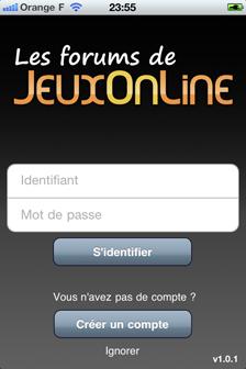 Applications mobiles pour les forums JeuxOnLine