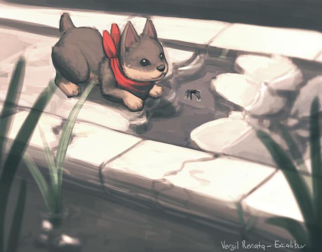 Wolf Pup with Bug par Vergil