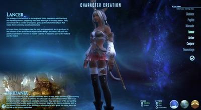 Aperçu de la création de personnage