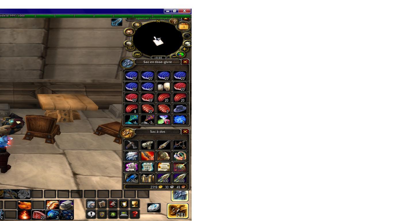 Warcraft ouverture of de Probleme sac Interface World vAdwdxnqYC