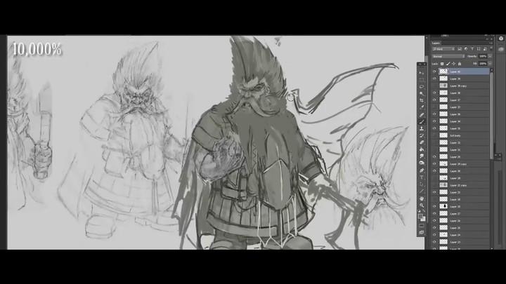Coulisses de la réalisation du dessin conceptuel de Grombrindal le Nain Blanc de Total War Warhammer