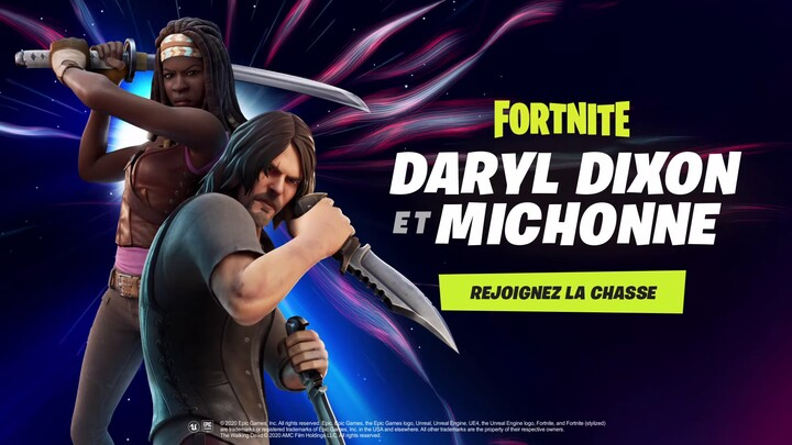 Michonne et Daryl, de The Walking Dead, arrivent dans Fortnite