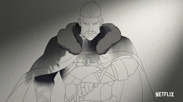 Aperçu de Vesemir dans le film d'animation The Witcher: Nightmare of the Wolf