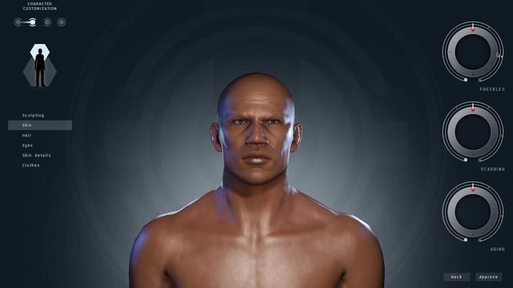 Aperçu de la création de personnages masculins dans EVE online