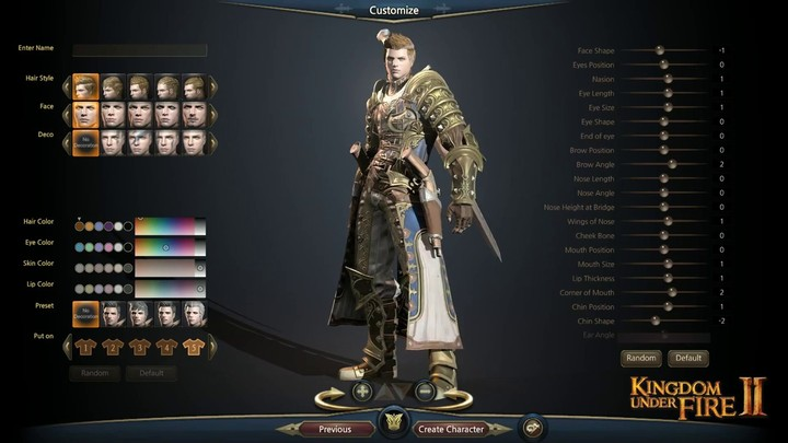 Aperçu des options de personnalisation des avatars de Kingdom Under Fire II
