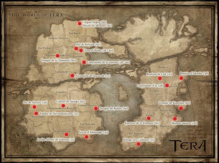 Carte générale des donjons de TERA
