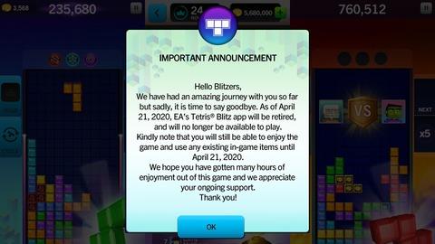 Les Tetris d'EA ne seront plus disponible à partir d'avril 2020