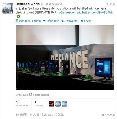 Tweet Defiance GC2012 démo