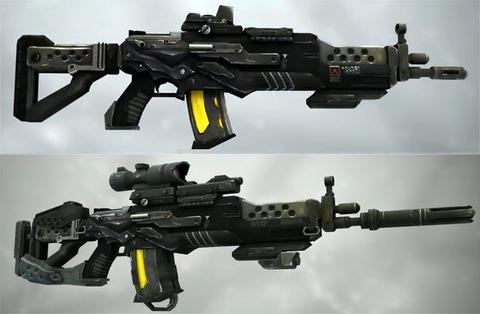 En haut, le fusil s'assaut FMR-3000 de base ; en bas, le fusil personnalisé par le joueur