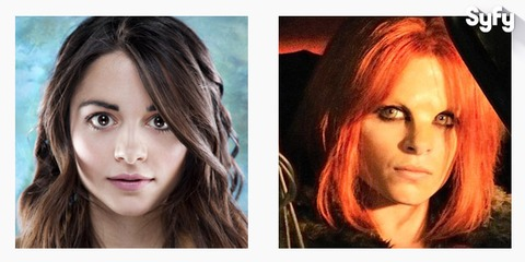Stephanie Leonidas à gauche et le personnage d'Irisa à droite
