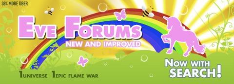 Capture d'une publicité au sein du client EVE pour les nouveaux forums