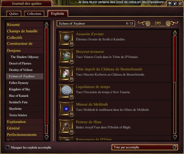 La liste des donjons majeurs qui sont accessibles dans le jeu.