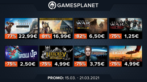 Promo Gamesplanet : 51 jeux à petits prix, Assassin's Creed (-81%), Rainbow Six Siege (-70%), Crusader Kings III: Northern Lords (-10%)