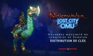 """Distribution : 100 montures """"Hachebec moucheté de turquoise de Suratuk"""" de Neverwinter à gagner"""