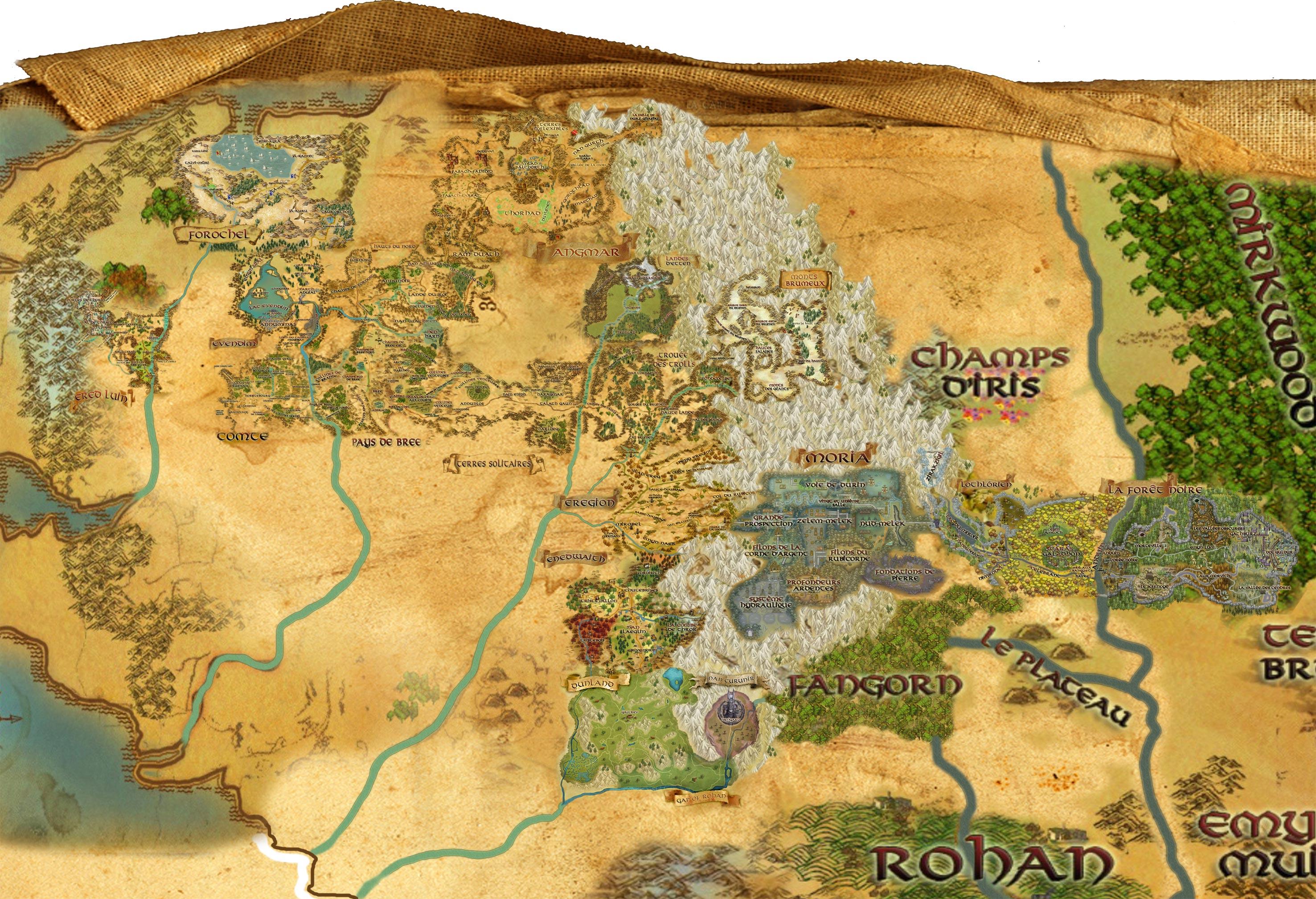 Carte Terre Du Milieu Hd.Le Seigneur Des Anneaux Online Exploration Geographie