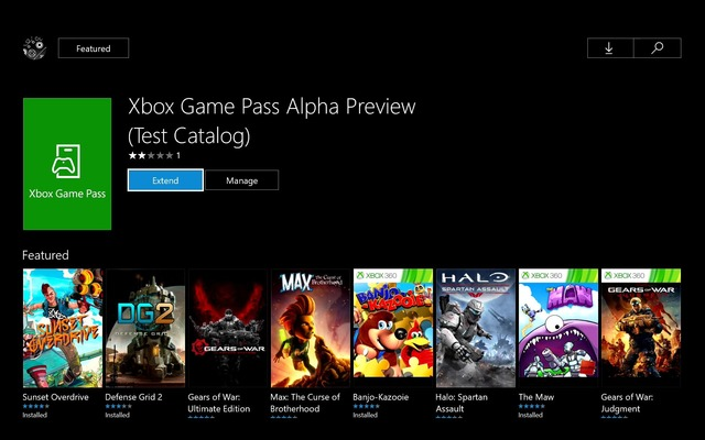Test Xbox Game Pass