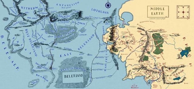Carte de la Terre du Milieu avec le Beleriand