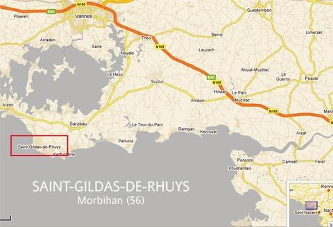 Carte routière localisant Saint-Gildas-de-Rhuys