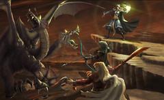 Guerriers et Roi Dragon