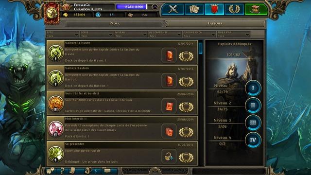 Interface du menu