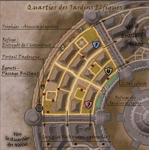 Carte commentée du Quartier des Jardins Elfiques