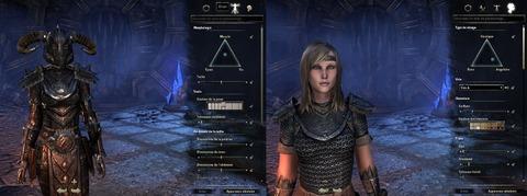 L'interface dédiée à la morphologie du personnage : à gauche, du corps et, à droite, du visage
