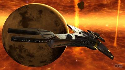 Croiseur Cardassien évoluant dans les terres brûlées. Jadis, repère du maquis.