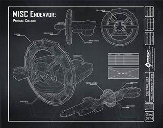 Blueprint d'un vaisseau Endeavor équipé d'un collisionneur de particules