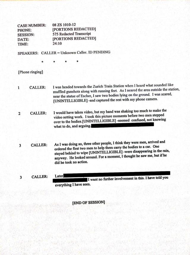 Transcription d'un appel téléphonique en rapport avec l'incident de Zurich