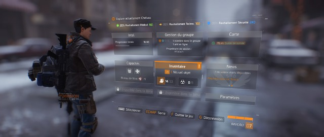 The Division (Bêta) - Menu