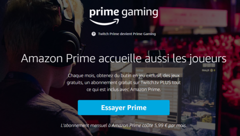 Amazon - Twitch Prime devient Prime Gaming au sein de l'offre Amazon Prime