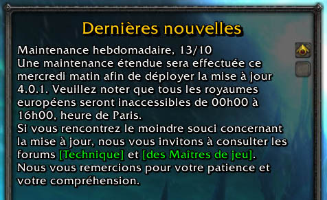 mise a jour wow 4.0.1