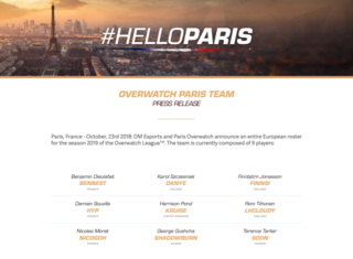 L'équipe parisienne de l'Overwatch League officialise son roster