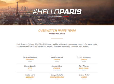 Overwatch - L'équipe parisienne de l'Overwatch League officialise son roster