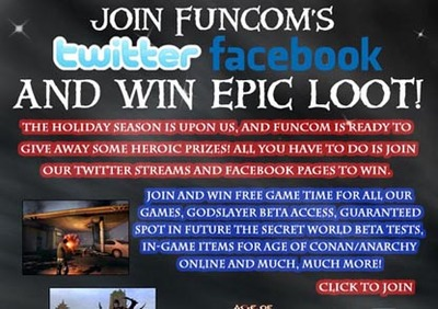Join us on Twitter and Facebook and win epic loot!