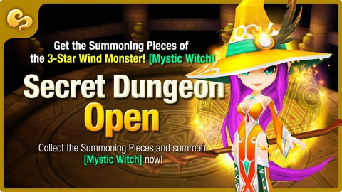 Summoners War - Donjon Secret : Sorcière Mystique Vent