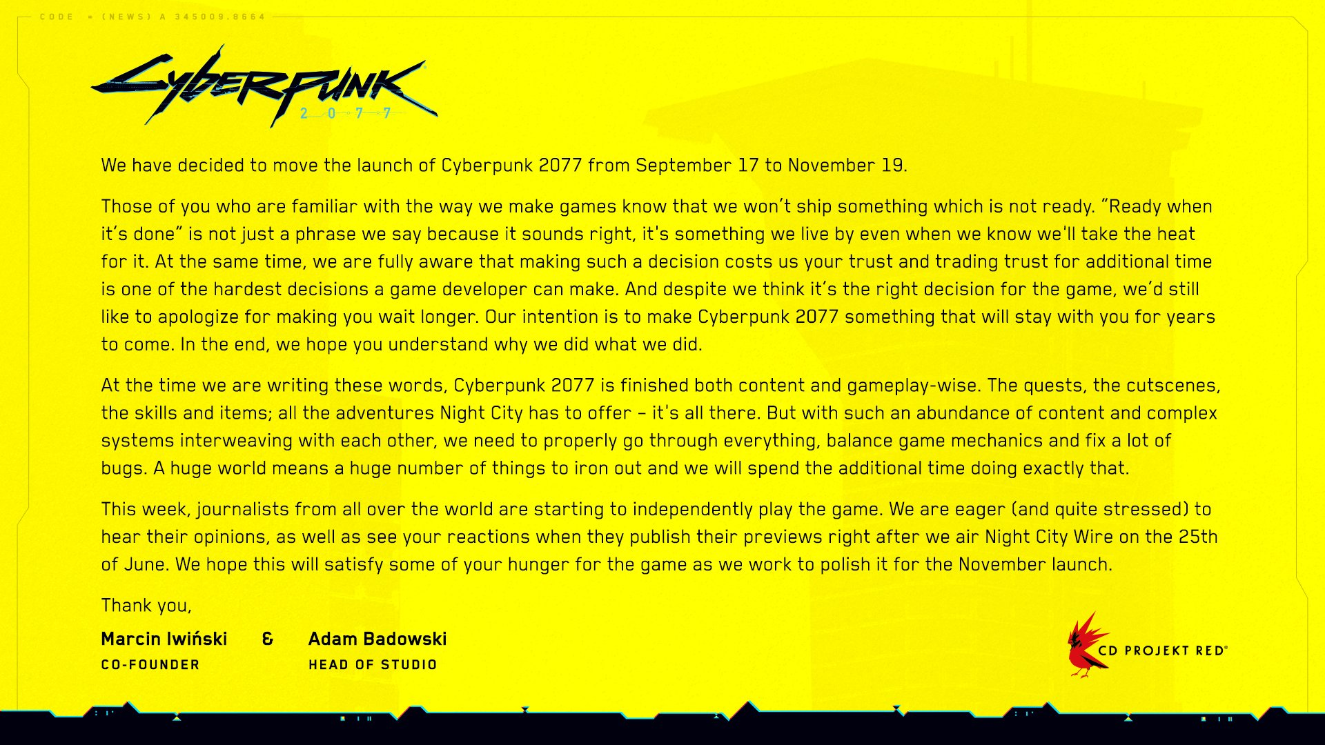 Cyberpunk 2077 repousse sa sortie de 2 mois supplémentaires