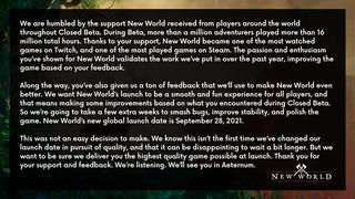 Report de New World au 28 septembre 2021