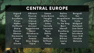 Liste des serveurs européens de New World