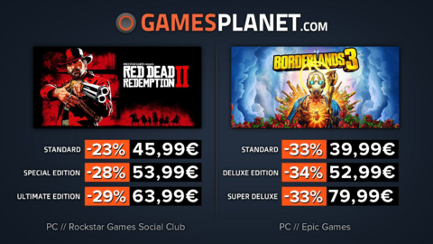 Red Dead Redemption 2 - Promo Gamesplanet : Red Dead Redemption 2 (-29%), Borderlands 3 (-34%)