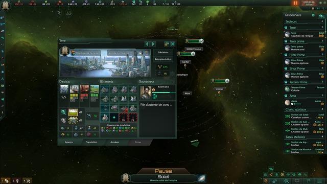 La nouvelle interface de gestion des planètes