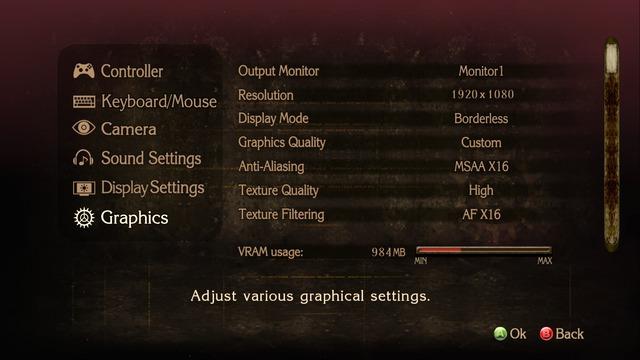 Les options graphiques de la version PC