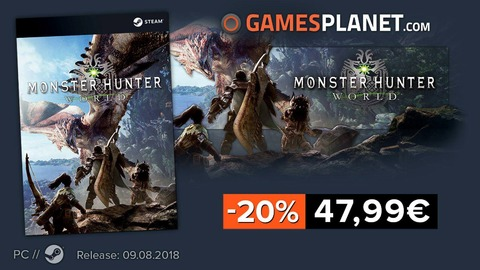 Monster Hunter World - Bon plan : -20% sur la précommande de Monster Hunter World sur PC