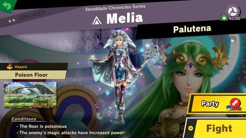 Combat contre Palutena sur le thème de Melia