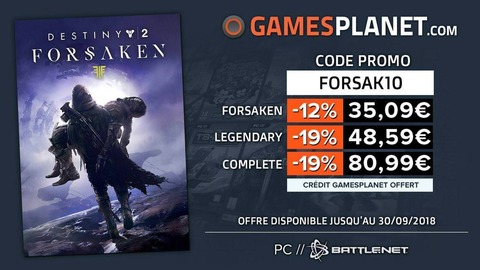 Destiny 2 - Bon plan : de -12% à -19% de remise sur l'extension Forsaken de Destiny 2