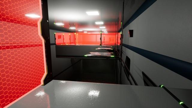 Le cube qui doit couvrir ma traversée est visible derrière le mur laser. Après le passage où j'en ai besoin, donc.